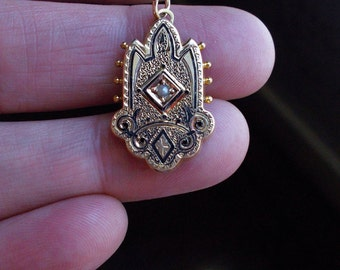 Genuine Antique Victorian Etruscan Solid 10K yellow gold Taille D'Epargne Seed pearl Pendant