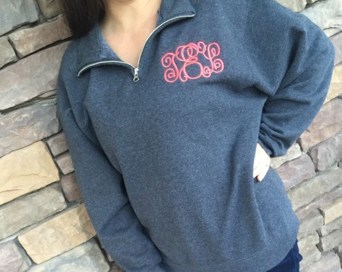 Featured listing image: Personalized Monogrammed quarter zip sweatshirt, embroidered sweatshirt, 1/4 zip sweatshirt graduation gift