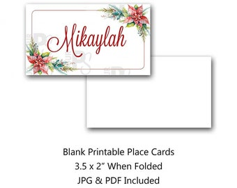Christmas Place Card, Holiday, Poinsettia, Christmas, Place Card, Tent Card, Food Card, Name Card, Party Favor, Instant Download, Printable