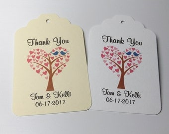 Wedding Favor Thank You Love Birds in a Tree Wedding favor tags set of 40 Wedding Tags
