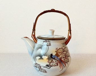 Vintage teapot, Asia pot, ceramic teapot, teapot with tea strainer, mid century ceramic