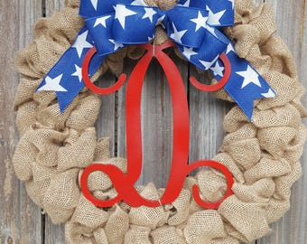 Patriotic Wreath, Fourth of July Wreath, 4th of July Decorations, Burlap Wreath, Monogram Wreath, Wreath with Monogram, Summer Wreath