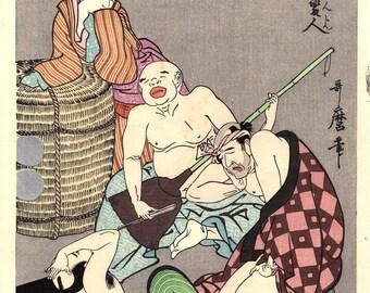 """Japanese Ukiyoe, Woodblock print, antique, Utamaro, """"Seven Strange Men Blind Drunk"""""""