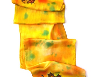 Yellow Fall Leaf Scarf - Hand Painted Silk