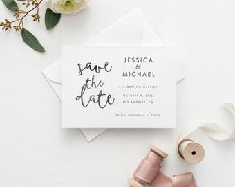 Printable Save The Date Printable - Watercolor Boho Chic Calligraphy Save the Date Wedding Invitation - Letter or A4 Size (Item code: P111)