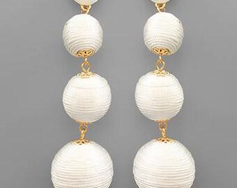 White BonBon Drop Post Earrings