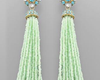 Mint Seed Bead Tassel Earrings