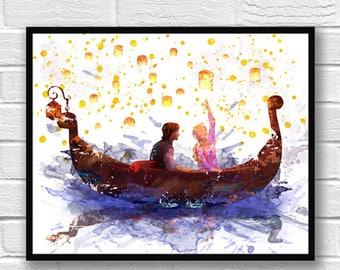 Rapunzel Watercolor Print, Disney Art, Tangled, Flynn Rider, Boat, Movie Poster, Wall Art, Home Decor, Kids Room Decor, Nursery Art  - 745