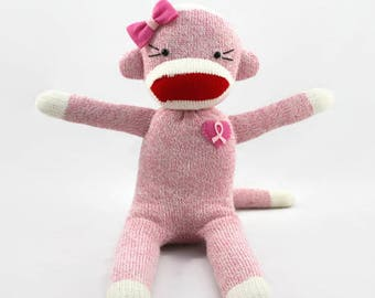 Breast Cancer Awareness Sock Monkey Doll, F*ck Cancer, Breast Cancer Gifts, Breast Cancer Ribbon, Pink Ribbon, Cancer Care Package