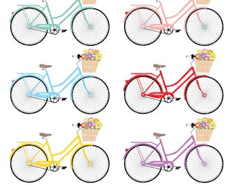 Digital Clipart - Womans Bicycle Clipart for Scrapbooking, Invitations, Paper crafts, Cards Making, only FOR PERSONAL USE