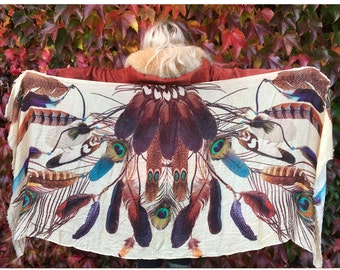 Feather Scarf - Peacock Feathers - Bird Scarf - Bohemian Clothing - Shawl - Statement Scarf - Sarong