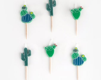 6 candles with cactus design -  Cactus pattern - Cactus party - Tropical party