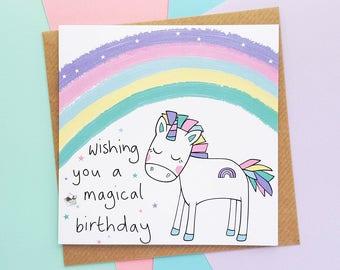 Rainbow Unicorn Birthday Card   Handmade Unicorn Birthday Card, Cute Unicorn Card, Kawaii Unicorn Card   Cards for Her, Daughter Birthday