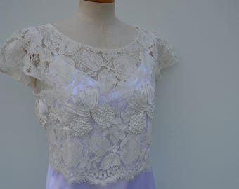 Clearance 30% lace cover-up bride, lace crop top lace ivory Top