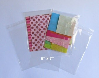 """Clear Cello Bags, 50 Clear Cellophane Bags , Plastic Bags, Party Favor Bags, Self Sealing Bags 5"""" x 7"""""""