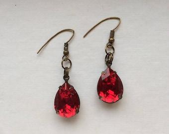 Vintage Red Swarovski Crystal Earrings