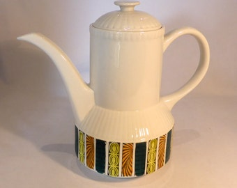 "Kathie Winkle Ironstone coffee pot in ""Mardi Gras"" design – original from the 1960s"