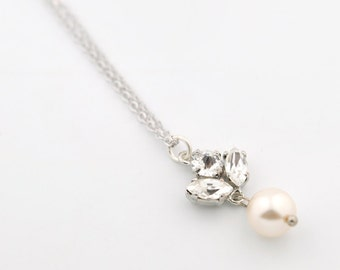 Dainty wedding pendant necklace - crystal and pearl