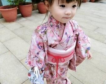 Japan kimono yukata chinese cheongsam crane flower pink Fabric 1/2 yard