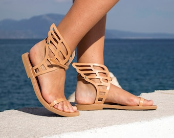 Leather Sandals - NEW Hermes Winged leather Sandals, Ancient Greek handmade leather sandals, Women sandals, Natural color