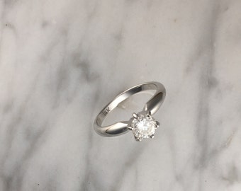 SALE - 3/4 ct 6 Prong Certified Diamond Solitaire 14K White Gold Engagement Ring - 5.5mm Round Diamond Ring - Cathedral Setting - 3/4 Carat