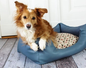 Dog bed, artificial leather, blue, heart, dog, cat, colorful, rectangular, sleeping, pillow, soft, cozy, shabby, country house, vintage
