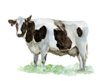 Watercolor Cow Print, Cow Art Print