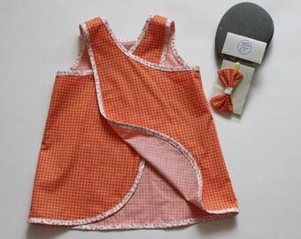 girls dress size 2T or 2  %100 cotton European style tulip wrap dress with matching headband, 2 piece set
