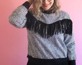 Vintage 80s Animal Print Sweatshirt with Fringe Western Cowgirl