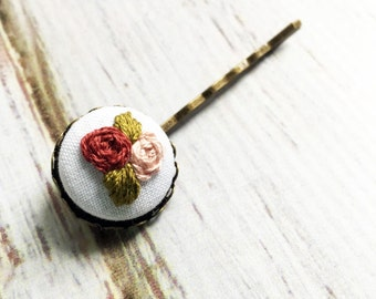Embroidered hair clips Floral hair clip Embroidered rose Gifts for her Jewelry under 50 Floral accessories Rose hair pins Hand embroidered
