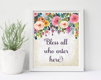 Bless All Who Enter Here, Bless Print, Christian Wall Art, Antique Wall Art, Entryway Wall Art, Entryway Art, Floral Wall Art, Home Print