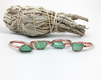 Chrysoprase Ring | Electroformed Ring | Electroformed Jewelry | Green Ring | Stone Ring | Copper Ring | Crystal Ring