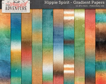 Boho chic hippie style gradient ombre digital papers, scrapbooking paperpack instant download, art journaling backgrounds textures