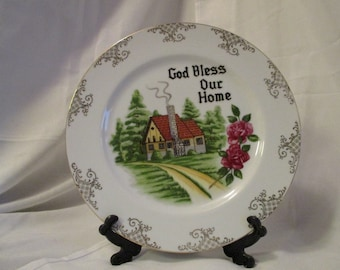 Vintage God Bless Our Home Decorative collectible plate