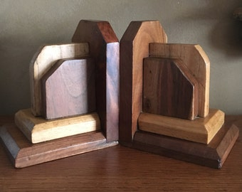 Vintage Wooden Art Deco Book Ends, Multi Stained Bookends