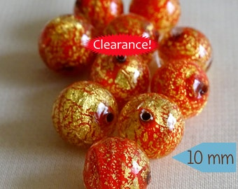 Hand Crafted Venetian Red Glass Beads with Gold Foil – 1 Pc | CD151-1
