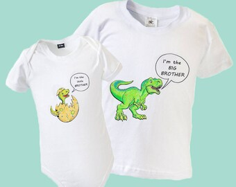 Big Sister Brother Little Sister Brother Matching Outfit - Babygrow & Top with Dinosaurs SHORT SLEEVE