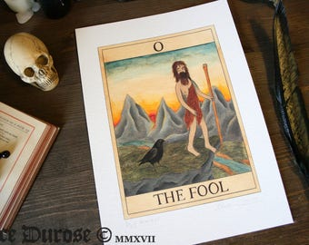 The Fool Tarot Card A4 Fine Art Print. Wildman, Journey beginning, Mountains, Crow, new day dawning, occult, magic.