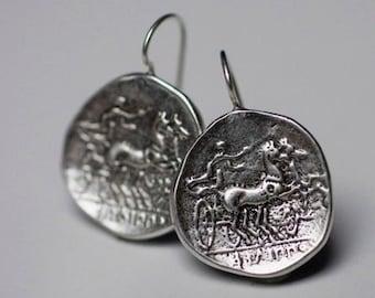 925 Sterling Silver Greek Apollo Coin Earrings, Sterling Silver Apollo Coin Earrings, Silver Greek Coin Earrings, Apollo Coin Earrings