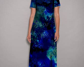 Blue dress, maxi dress, casual dress, party dresses for women, colorful dress, womens dresses, loose dresses, holiday dress, designer dress,