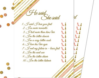 Gold Bridal Shower Game Template Printable Bridal Shower Game Card He Said She Said Hens Party Games  |INSTANT DOWNLOAD|#GC2|