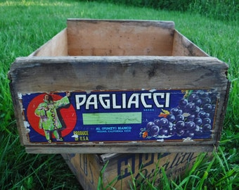 Storage Crate/Wood Crate/Wooden Produce Crate/Rustic Decor/Wine Grape Box with Label/Paglicci/Vintage