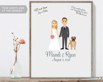 Custom Couple Portrait / Personalized Portrait Guestbook / Bride, Groom / Bespoke Illustration ▷ Printable File {or} Printed & Shipped