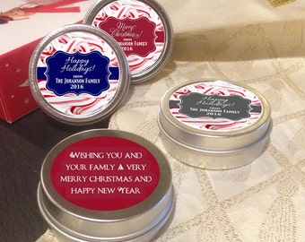 12 Personalized Christmas Mint Tins Favors - Candy Canes  - Christmas Favors - Winter Favors - Christmas Decor - Stocking Stuffers