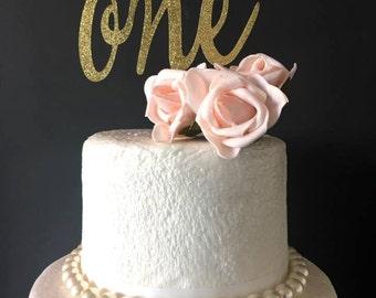 ONE first birthday cake topper .. happy birthday .. cake topper .. gold cake topper