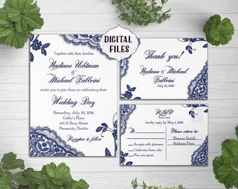 Navy Wedding Invitations, Lace wedding invitation, Printable Digital file, Wedding Invitation, navy blue Invite, response card, lace invites