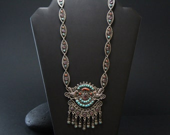 Signed Sterling Silver Matl Poulat Style Long Taxco Bejeweled Necklace with Amethyst, Coral, and Turquoise