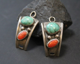 Old Pawn Sterling Silver Old Pawn Turquoise and Coral Watch Tips