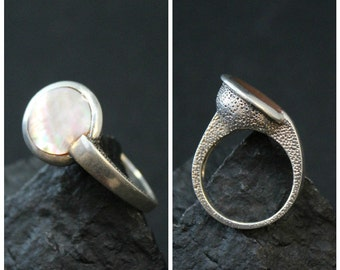 Unique Sterling Silver Textured Mother of Pearl Asymmetrical Statement Ring