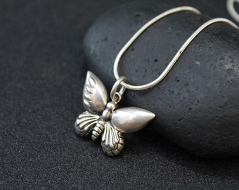 Sterling Silver Butterfly Pendant on 18 inch Sterling Silver Snake Chain